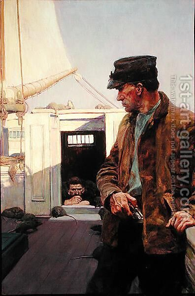 He Watched Me as a Cat Watches a Mouse, from The Grain Ship, by Morgan Robertson by Howard Pyle - Reproduction Oil Painting
