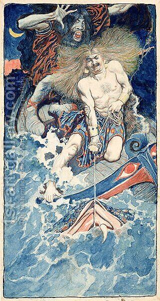 The Fishing of Thor and Hymir, from North Folk Legends of the Sea by Howard Pyle, published in Harpers Monthly Magazine, January 1902 by Howard Pyle - Reproduction Oil Painting