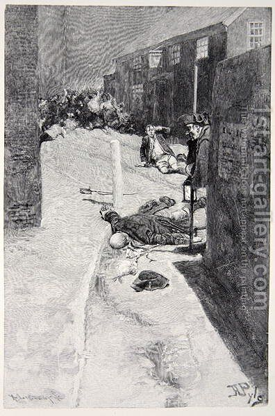 Barbarously murdered the first grievously wounded soldier by Howard Pyle - Reproduction Oil Painting