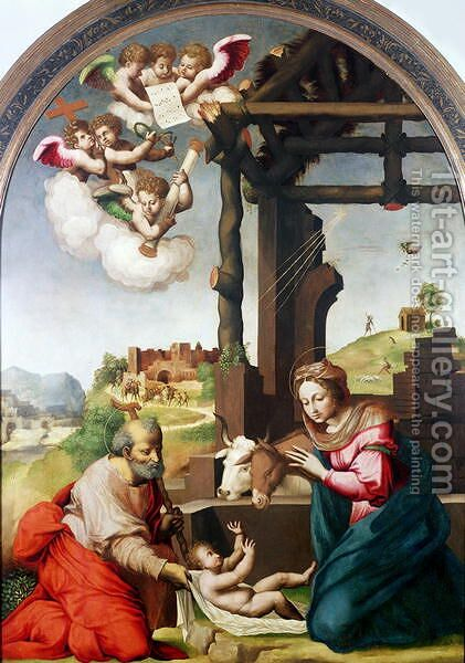 Adoration of the Holy Child by Biagio Pupini - Reproduction Oil Painting