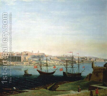 A View of the Town and Fortifications of Valetta by Alberto Pulicino - Reproduction Oil Painting