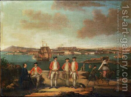 British Officers in San Felipe, Minorca by Alberto Pulicino - Reproduction Oil Painting