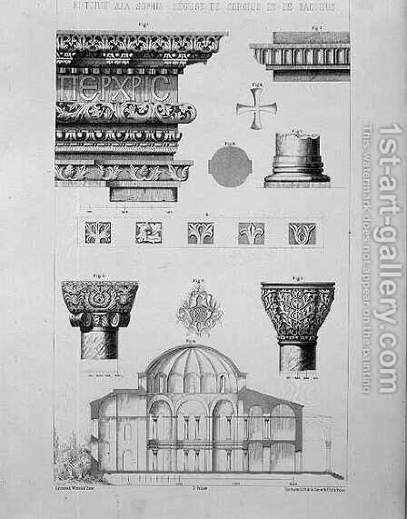 Cross section and architectural details of Kutciuk Aja Sophia, the church of Sergius and Bacchus, from Church Architecture of Constantinople, pub. by Lehmann and Wentzel of Vienna, c.1870-80 by (after) Pulgher, D. - Reproduction Oil Painting