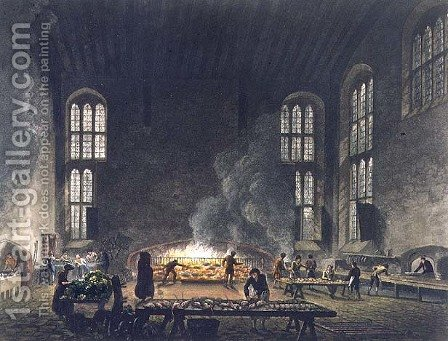 Interior of the Kitchen at Christ Church, illustration from the History of Oxford, engraved by F.C. Lewis 1779-1856 pub. by R. Ackermann, 1813 by (after) Pugin, Augustus Charles - Reproduction Oil Painting
