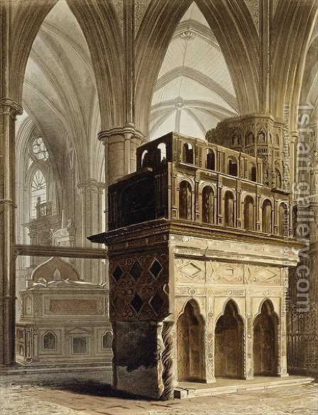 Edward the Confessors Monument, plate M from Westminster Abbey, engraved by J. Bluck fl.1791-1831 pub. by Rudolph Ackermann 1764-1834 1812 by (after) Pugin, Augustus Charles - Reproduction Oil Painting