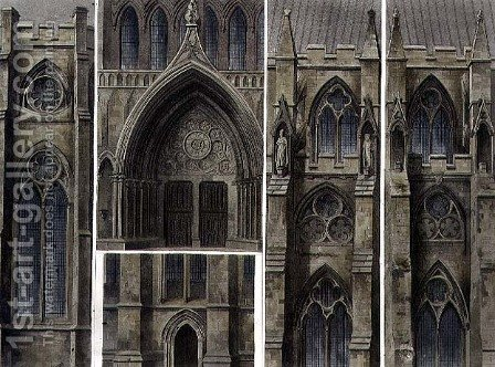 Fragments, Windows and Doors, plate 13 from Westminster Abbey, engraved by Thomas Sutherland, pub. by Rudolph Ackermann 1764-1834 1811 by (after) Pugin, Augustus Charles - Reproduction Oil Painting