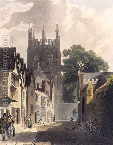 Magpie Lane, Oxford, illustration from the History of Oxford engraved by J. Bluck fl.1791-1831 pub. by R. Ackermann, 1813 by (after) Pugin, Augustus Charles - Reproduction Oil Painting