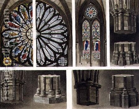 Fragments, Parts, Windows and Pillars, plate 14 from Westminster Abbey, engraved by Thomas Sutherland, pub. by Rudolph Ackermann 1764-1834 1811 by (after) Pugin, Augustus Charles - Reproduction Oil Painting