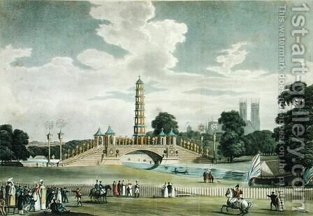 View of the Bridge and Pagoda, St. Jamess Park, Erected for the Grand Jubilee, In Celebration of the Peace, engraved by J. R. Hamble, 1814 by (after) Pugin, Augustus Charles - Reproduction Oil Painting