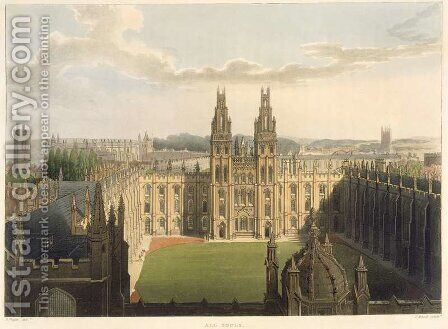Exterior view of All Souls College, taken from the top of Radcliffe Library, illustration from the History of Oxford, engraved by J. Bluck fl.1791-1831 pub. by R. Ackermann, 1814 by (after) Pugin, Augustus Charles - Reproduction Oil Painting