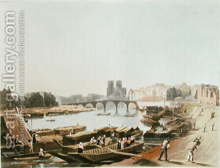 Notre Dame, Ile de la Cite, Ile Saint Louis and the Pont de la Tournelle, 1821 by (after) Pugin, Augustus Charles - Reproduction Oil Painting