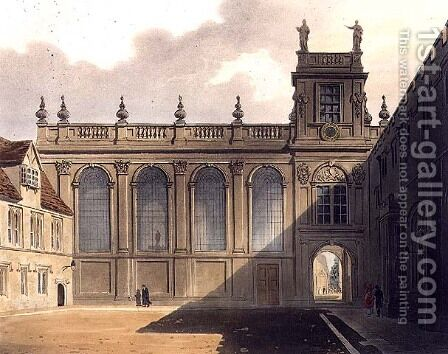 Exterior of Trinity College Chapel, illustration from the History of Oxford, engraved by J. Bluck fl.1791-1831 pub. by R. Ackermann, 1813 by (after) Pugin, Augustus Charles - Reproduction Oil Painting
