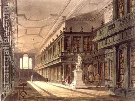 Interior of the Library of All Souls College, illustration from the History of Oxford, engraved by J. Bluck fl.1791-1831 pub. by R. Ackermann, 1814 by (after) Pugin, Augustus Charles - Reproduction Oil Painting