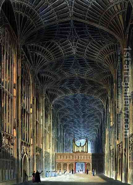 Interior of Kings College Chapel, from The History of Cambridge, engraved by Joseph Constantine Stadler fl.1780-1812, pub. by R. Ackermann, 1815 by (after) Pugin, Augustus Charles - Reproduction Oil Painting
