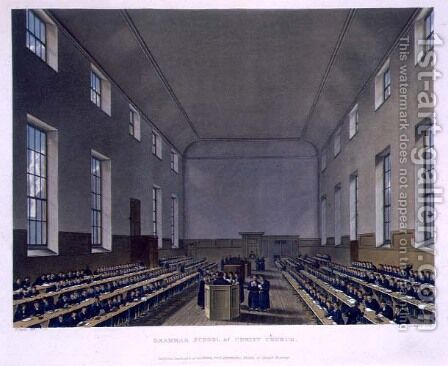 Grammar School of Christ Church, from History of Christs Hospital, part of History of the Colleges, engraved by Joseph Constantine Stadler fl.1780-1812 pub. by R. Ackermann, 1816 by (after) Pugin, Augustus Charles - Reproduction Oil Painting