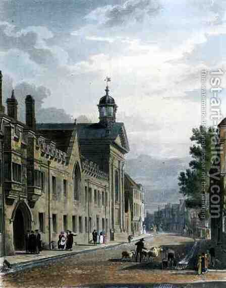 Exterior of Pembroke College, Cambridge, from The History of Cambridge, engraved by Joseph Constantine Stadler fl.1780-1812, pub. by R. Ackermann, 1815 by (after) Pugin, Augustus Charles - Reproduction Oil Painting