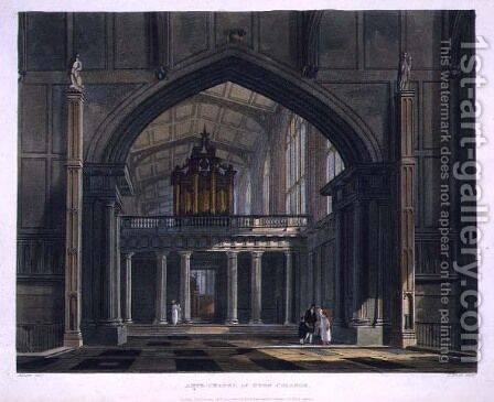 Ante-Chapel of Eton College, from History of Eton College, part of History of the Colleges, engraved by Daniel Havell 1785-1826 pub. by R. Ackermann, 1816 by (after) Pugin, Augustus Charles - Reproduction Oil Painting