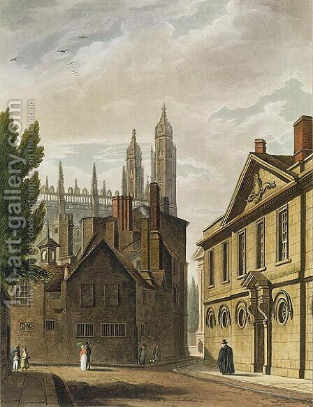 Front of Trinity Hall, Cambridge, from The History of Cambridge, engraved by Joseph Constantine Stadler fl.1780-1812, pub. by R. Ackermann, 1815 by (after) Pugin, Augustus Charles - Reproduction Oil Painting