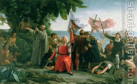 The First Landing of Christopher Columbus 1450-1506 in America, 1862 by Dióscoro Teófilo Puebla Tolín - Reproduction Oil Painting