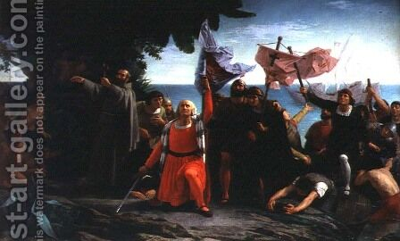 The First Landing of Christopher Columbus in America, 1862 by Dióscoro Teófilo Puebla Tolín - Reproduction Oil Painting