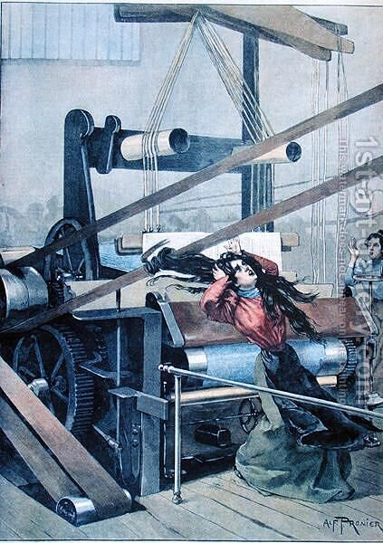 Accident in a textile mill in Lille, illustration from Le Petit Journal, 1898 by Alfred Pronier - Reproduction Oil Painting