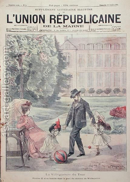The Russian Imperial family on holiday at the Chateau de Wolfsgarten, from the front cover of LUnion Republicaine de la Marne magazine, 1899 by Alfred Pronier - Reproduction Oil Painting