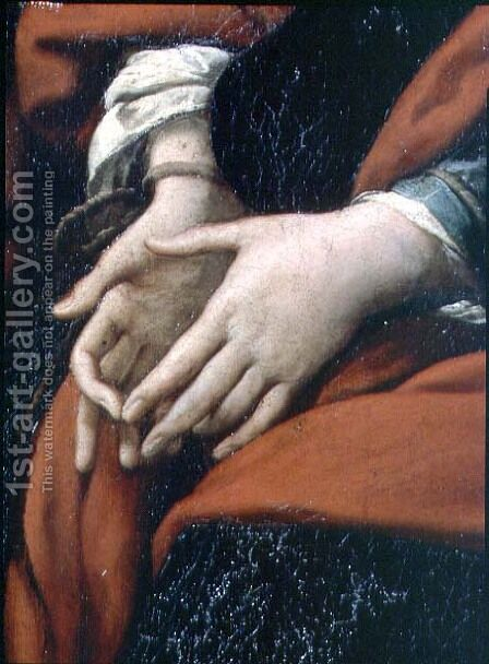 The Martyrdom of SS. Rufina and Seconda, known as the three-handed picture, detail of bound hands, painted in conjunction with Pier Francesco Mazzucchelli Morazzone 1571-1626 and Giulio Cesare Procaccini 1574-1625, before 1625 by Giulio Cesare Procaccini - Reproduction Oil Painting
