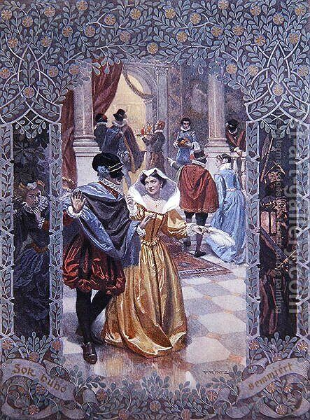 Illustration for a scene in Much Ado About Nothing, c.1900 by Christian August Printz - Reproduction Oil Painting
