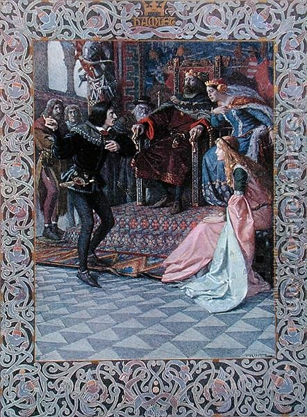 Hamlet before King Claudius, Queen Gertrude and Ophelia, scene from Hamlet by William Shakespeare 1564-1616 c.1900 by Christian August Printz - Reproduction Oil Painting