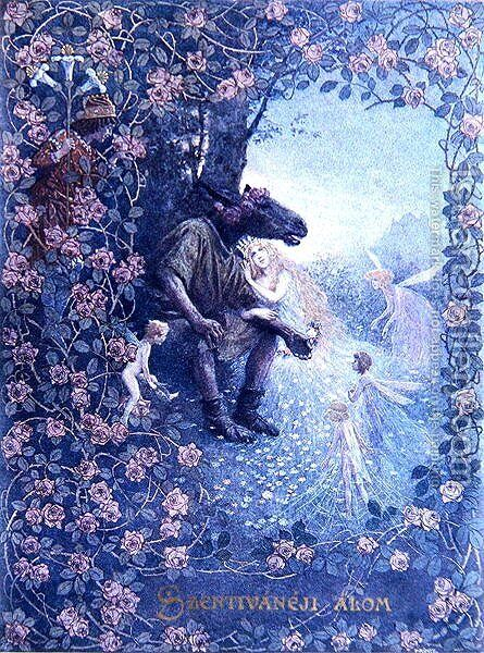 Illustration from A Midsummer Nights Dream by William Shakespeare 1565-1616 c.1900 by Christian August Printz - Reproduction Oil Painting