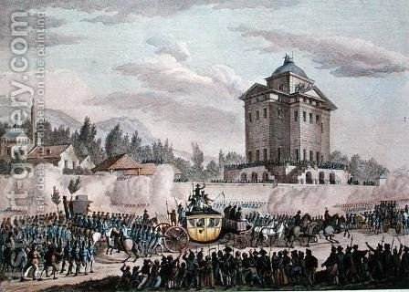 The Return to Paris of Louis XVI 1754-93 from Varennes, 26th June 1791, engraved by Reinier Vinkeles 1741-1816 and Daniel Vrydag 1765-1822 by (after) Prieur, Jean Louis, II - Reproduction Oil Painting