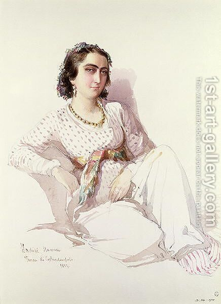 Hadice Hanim - lady from Istanbul, 1852 by Amadeo Preziosi - Reproduction Oil Painting