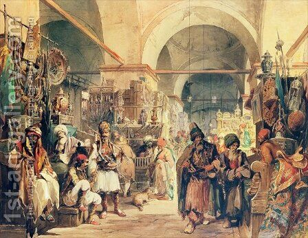 A Turkish Bazaar, 1854 by Amadeo Preziosi - Reproduction Oil Painting