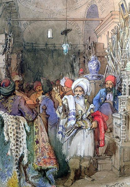 Vendors in the Covered Bazaar, Istanbul, 1851 by Amadeo Preziosi - Reproduction Oil Painting