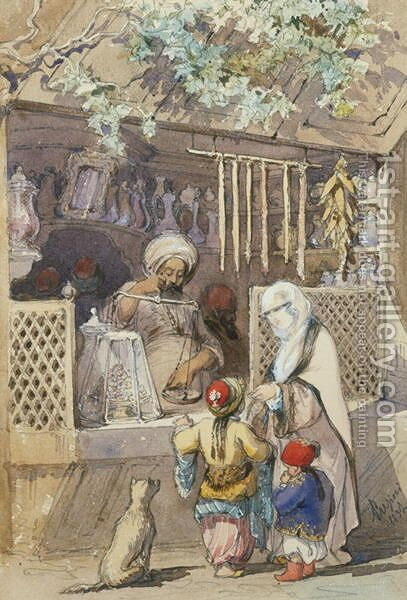Turkish Figures at a Sweetmeat Stall, 1851 by Amadeo Preziosi - Reproduction Oil Painting