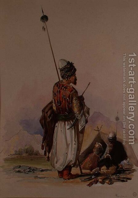 A Kurdish Warrior by Amadeo Preziosi - Reproduction Oil Painting