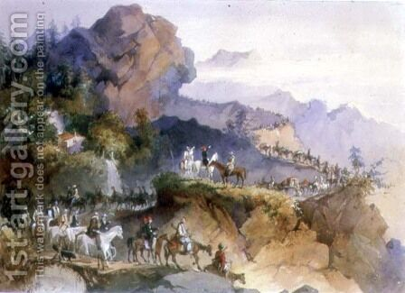 A Diplomatic Party being Escorted Across a Mountain Range by Amadeo Preziosi - Reproduction Oil Painting