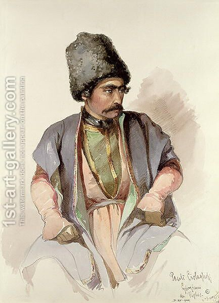 Paul - A Georgian from Tiflis, 1852 by Amadeo Preziosi - Reproduction Oil Painting