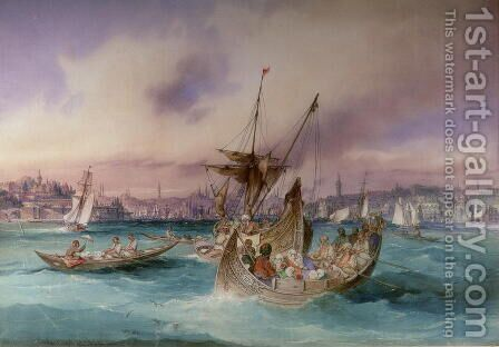 The Entrance to the Golden Horn, Constantinople by Amadeo Preziosi - Reproduction Oil Painting