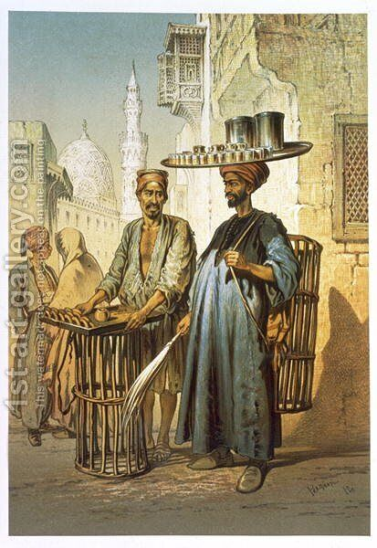 The Tea Seller, from Souvenir of Cairo, 1862 by Amadeo Preziosi - Reproduction Oil Painting