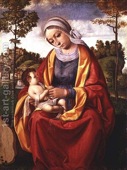 The Virgin and Child by Andrea Previtali - Reproduction Oil Painting
