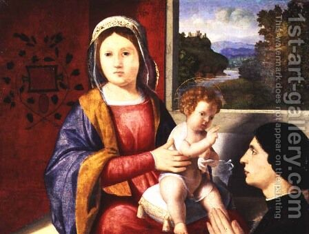 Madonna and Child with Donor by Andrea Previtali - Reproduction Oil Painting