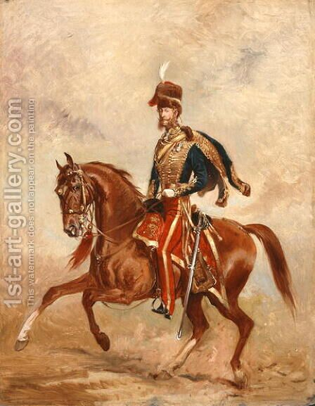 Lieutenant Colonel James Thomas Brudenell 1797-1868 7th Earl of Cardigan, c.1854 by Alfred F. De Prades - Reproduction Oil Painting