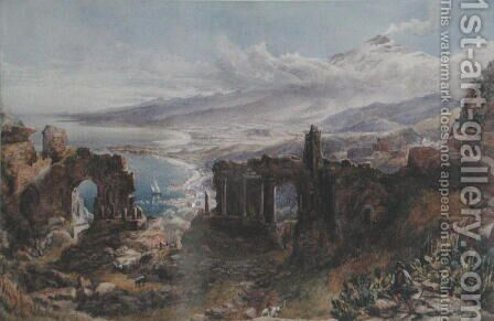 A View of Taormina and Mount Etna, Sicily by David Powell - Reproduction Oil Painting