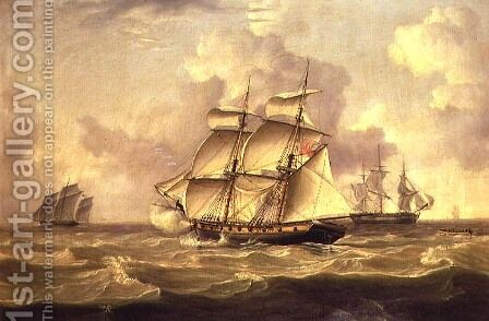 A British Gun Brig chasing a French Chasse Maree by Charles Martin Powell - Reproduction Oil Painting