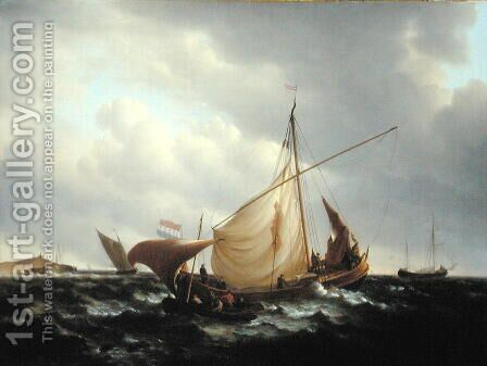 Dutch Boat Putting to Sea, 1801 by Charles Martin Powell - Reproduction Oil Painting