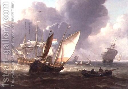 Dutch Three-Masters and Small Craft in a Swell by Charles Martin Powell - Reproduction Oil Painting