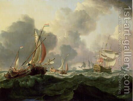 Dutch Pinks and a British Frigate in Choppy Seas by Charles Martin Powell - Reproduction Oil Painting