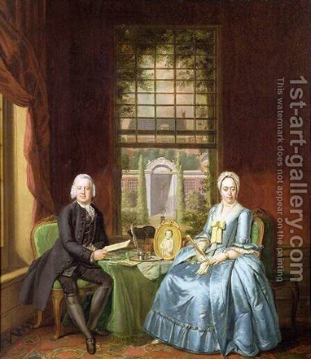 A family Portrait of a Gentleman and his Wife by Hendrik Pothoven - Reproduction Oil Painting