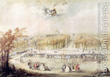 View of the Gardens and the Chateau of Versailles from the Neptune Fountain by Jacqes Andre Portail - Reproduction Oil Painting